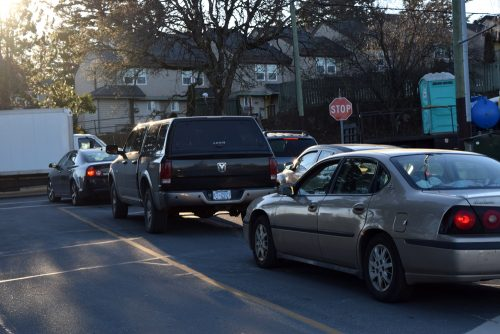 Heavy traffic at Shoreline and Island Highway in View Royal